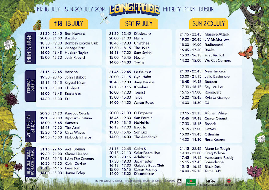 Longitude 2014 Stage Times