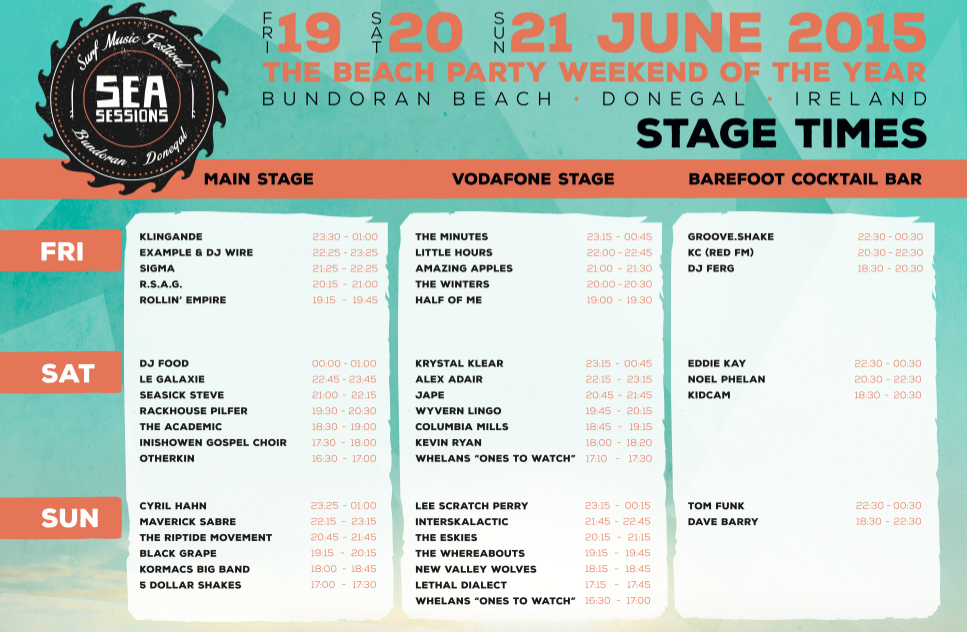 Sea Sessions 2015 Stage Times