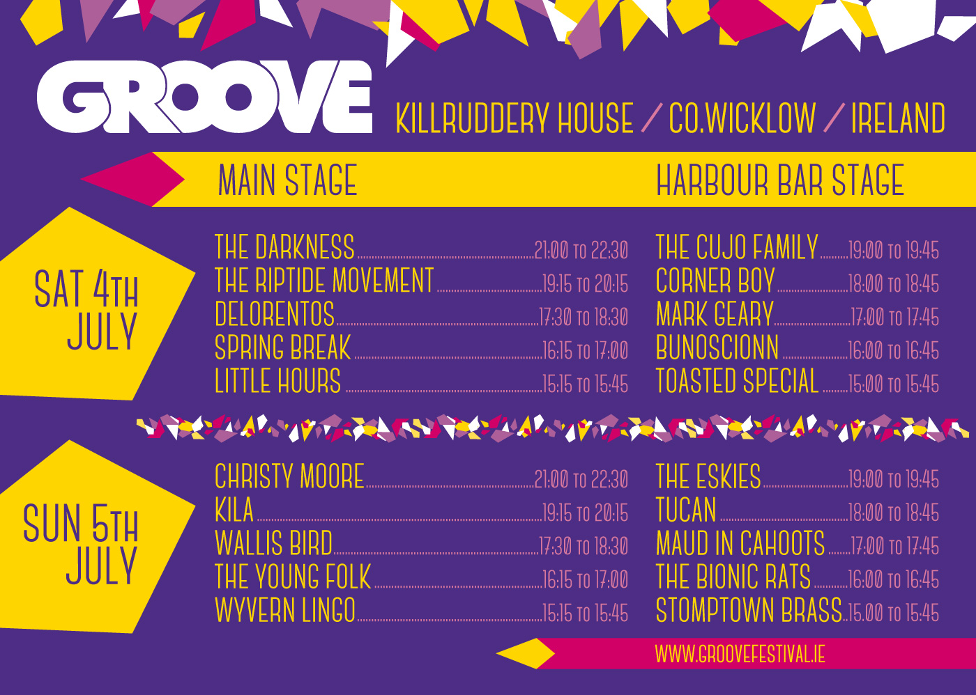 Groove Festival 2015 stage times