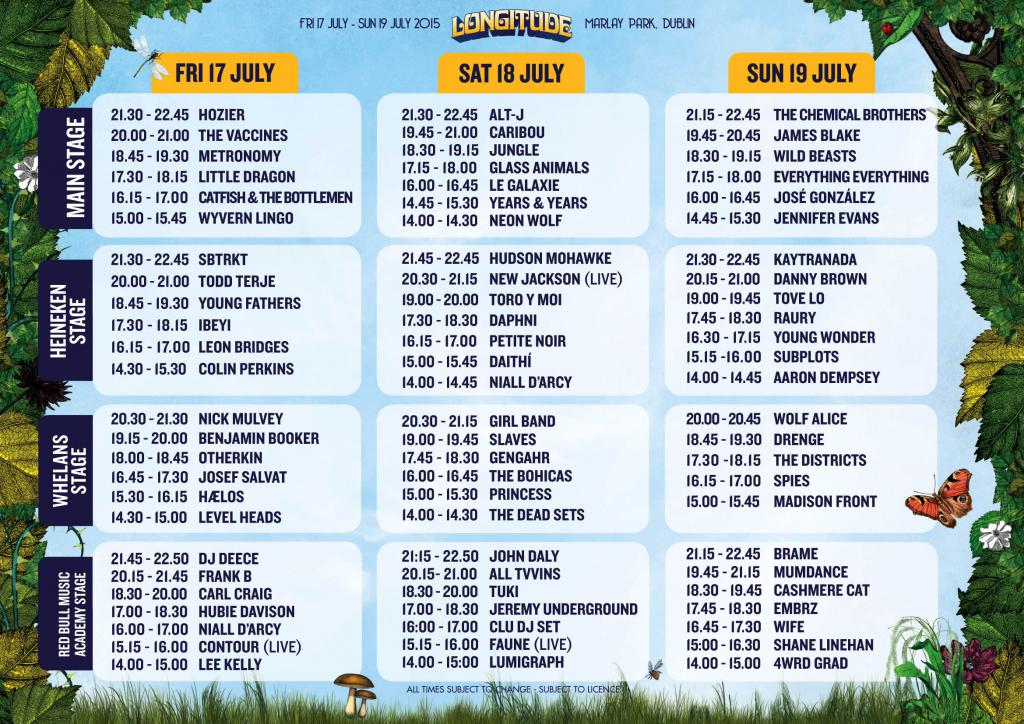 Longitude 2015 stage times