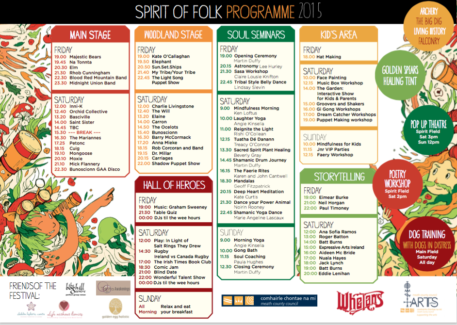 Spirit Of Folk 2015 Stage Times
