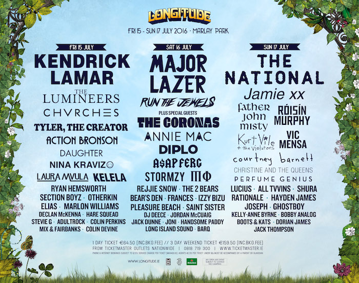 Longitude 2016 Day-By-Day Line-up