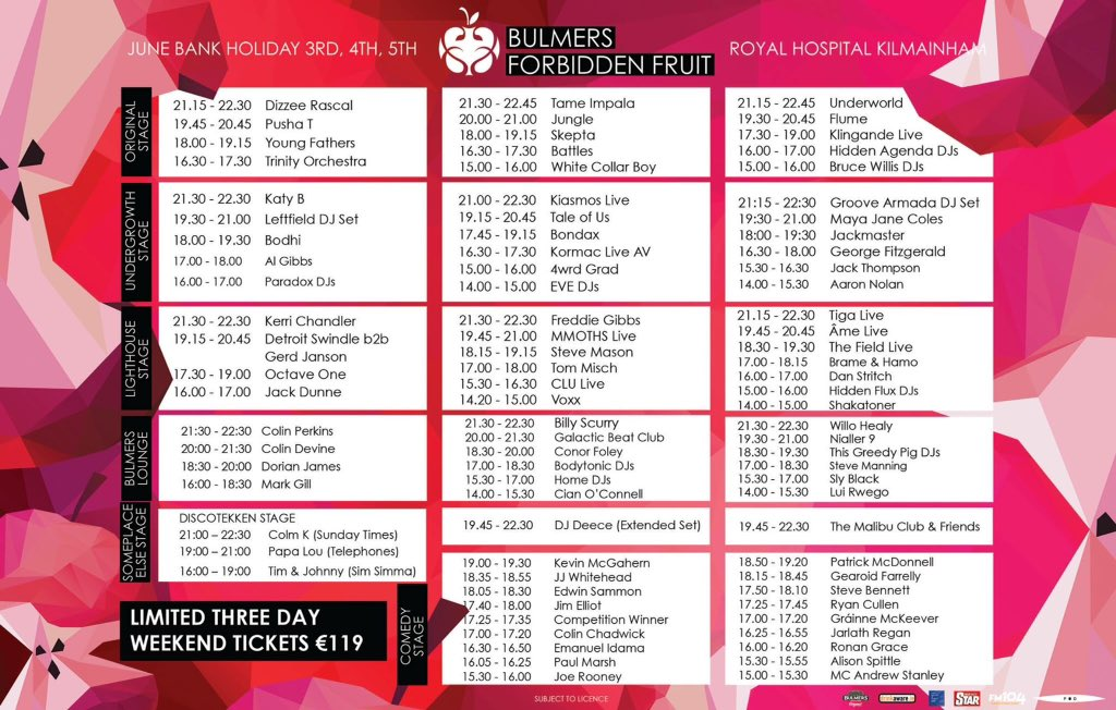 Forbidden Fruit 2016 Stage Times